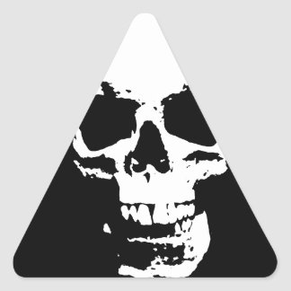 Black White Pop Art Skull Triangle Stickers