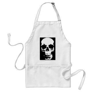 Black & White Pop Art Skull Stylish Cool Adult Apron
