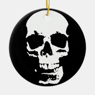 Black & White Pop Art Skull Stylish Cool Ceramic Ornament
