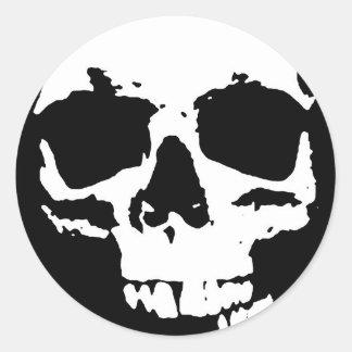 Black & White Pop Art Skull Stylish Cool Classic Round Sticker