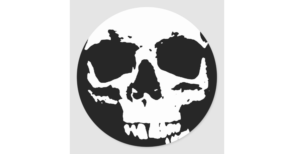 Black white pop art skull stylish cool classic round sticker zazzle com
