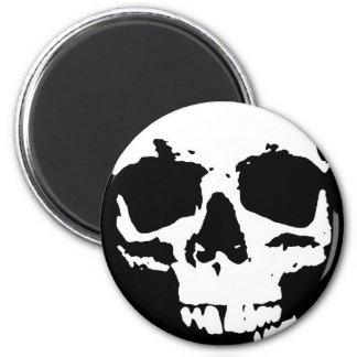 Black & White Pop Art Skull Stylish Cool Magnet