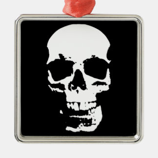 Black & White Pop Art Skull Stylish Cool Metal Ornament