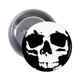 Black & White Pop Art Skull Stylish Cool Pinback Button