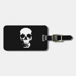 Black & White Pop Art Skull Travel Bag Tag