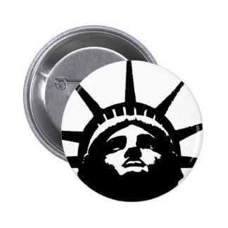 Black & White Pop Art Statue of Liberty Pinback Button