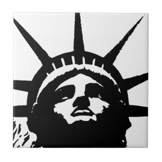 Black & White Pop Art Statue of Liberty Ceramic Tile
