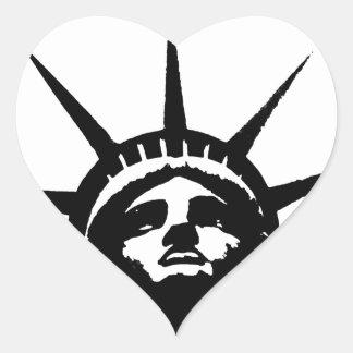Black & White Pop Art Statue of Liberty Heart Sticker