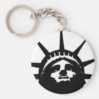 Black White Pop Art Statue of Liberty Keychains