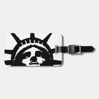 Black White Pop Art Statue of Liberty Tags For Bags