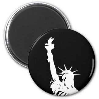 Black & White Pop Art Statue of Liberty Silhouette 2 Inch Round Magnet