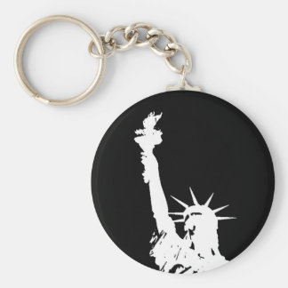 Black & White Pop Art Statue of Liberty Silhouette Keychain