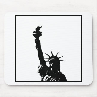 Black & White Pop Art Statue of Liberty Silhouette Mouse Pad