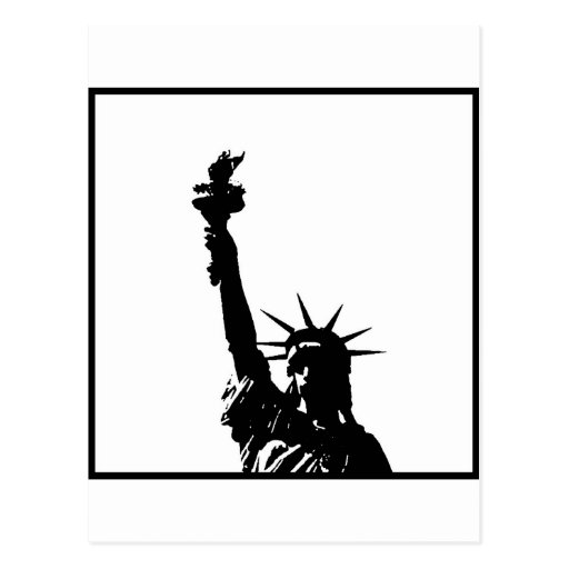 Black & White Pop Art Statue of Liberty Silhouette Postcard
