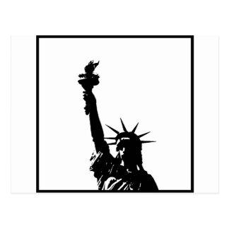 Black & White Pop Art Statue of Liberty Silhouette Postcard