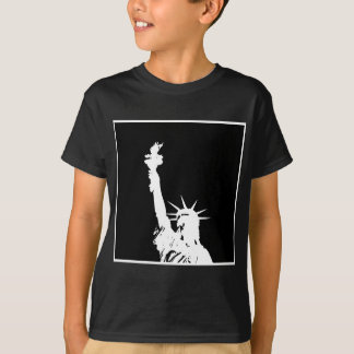 Black & White Pop Art Statue of Liberty Silhouette T-Shirt