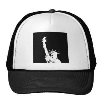 Black & White Pop Art Statue of Liberty Silhouette Trucker Hat