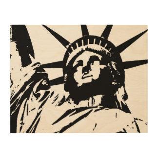 Black White Pop Art Statue of Liberty Wood Canvas Wood Wall Art