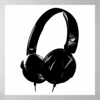 Black White Pop Art Style Headphone Poster