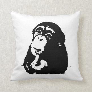 Black White Pop Art Thinking Chimpanzee Throw Pillow