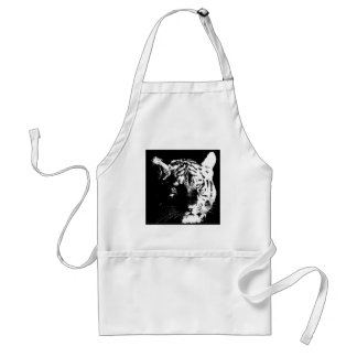 Black & White Pop Art Tiger Adult Apron