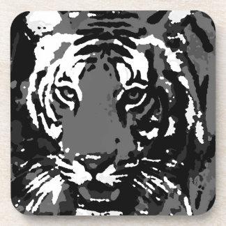 Black White Pop Art Tiger Beverage Coaster