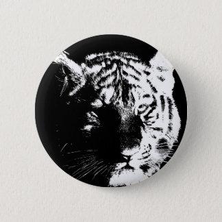 Black & White Pop Art Tiger Button