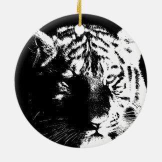 Black & White Pop Art Tiger Ceramic Ornament