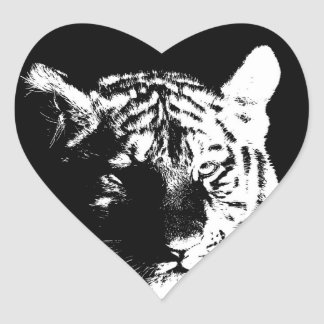 Black & White Pop Art Tiger Heart Sticker