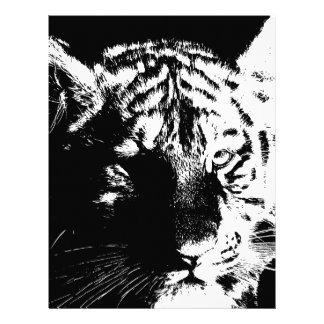 Black & White Pop Art Tiger Letterhead