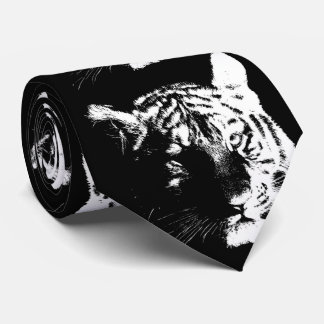 Black & White Pop Art Tiger Neck Tie