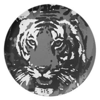 Black White Pop Art Tiger Plate