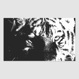 Black & White Pop Art Tiger Rectangular Sticker