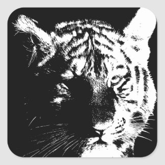 Black & White Pop Art Tiger Square Sticker