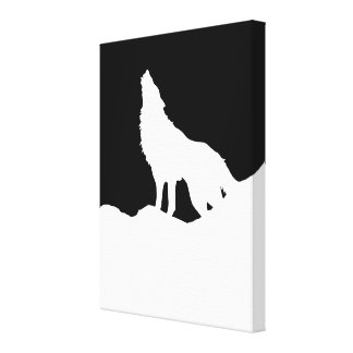 Black & White Pop Art Wolf Howling at Moon Canvas Print