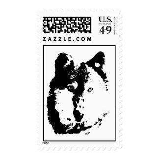 Black & White Pop Art Wolf Stamps
