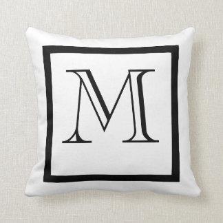 Black & White Positive Negative Monogrammed Pillow
