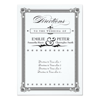 Black & White Poster Style Directions Card