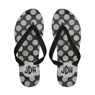 Black White Premium Custom Monogram Flip Flops