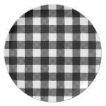 Black & White Preppy Buffalo Check Plaid Melamine Plate