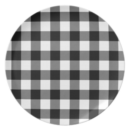 black  u0026 white preppy buffalo check plaid melamine plate