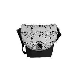 Black White Pretty Scrolling Vine Pattern Small Messenger Bag