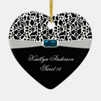 Black White Print and Blue Jewel Sweet 16 RE-DO Ceramic Ornament