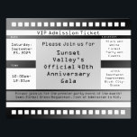 """Black/White Printed Ticket Flyer<br><div class=""""desc"""">Personalize the text on both sides of this realistic digital-style black and white ticket event flyer,  great for a grown-up adult birthday party,  open house,  party,  recital or special event! Also great to promote a concert.</div>"""
