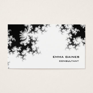 Black White Professional Floral Pattern Trendy Business Card