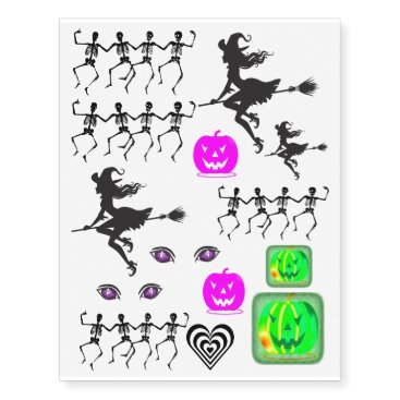 black/white pumpkins halloween set temporary tattoos