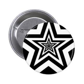BLACK WHITE PUNK ROCK STAR PINBACK BUTTON