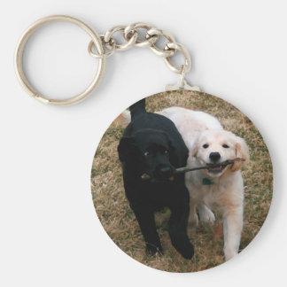 Black & white puppies key chain