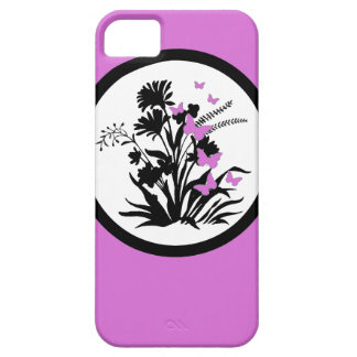 Black white purple butterfly floral iphone 5 case