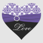 Black, White, Purple Damask Heart Shaped Sticker